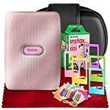 Fujifilm Instax Mini Link Smartphone Printer (Dusky Pink) + Case, Instax Mini Twin Film (20 Exposures), Colorful Frames with Hanging Clips, Funky Frames & Fibertique Microfiber Cleaning Cloth