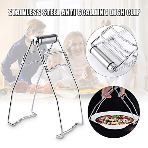 Hot Plate Gripper, Kitchen Stainless Steel Anti-Scalding Clip Dish Clip Plate Tongs, Folding Hot Dish Pan Clip Kitchen Retriever Tongs Household Utensils Cooking Tongs