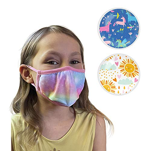 Kids Face Mask 3 Pack | Washable, Reusable & Breathable Face Mask with Inner Filter Pocket, Flexible Nose Bridge & Adjustable Ear Loops | Girls Face Mask Ages 2-10 | Unicorn, Rainbow & Space Tye Dye