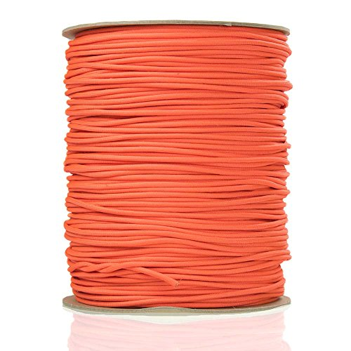 PARACORD PLANET Type III 550 9 Strand Emergency Survival Tinder Fishing Cord – Available in 10, 25, 50, 100, 250, 500, and 1000 Feet – Multiple Colors Available (Neon Orange, 25 Feet)