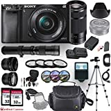 Sony Alpha a6000 (Black) E-Mount Mirrorless Camera with 3 Lenses (E 16–50mm f/3.5–5.6 OSS, E 55–210mm f/4.5-6.3 OSS and 420-800mm Zoom Lens) + Professional Accessory-Kit Bundle