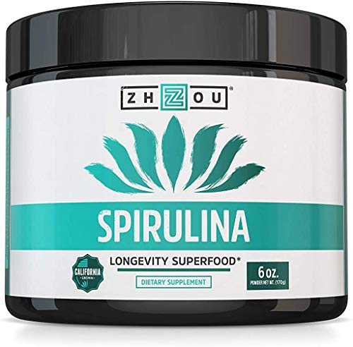 Zhou Spirulina Powder | 100% Vegetarian, No Gluten, Non-GMO & Non-Irradiated | Perfect for Smoothies, Juices & More | 48 Servings, 6 oz
