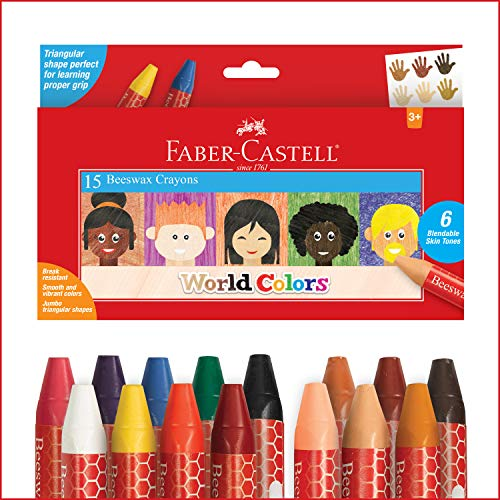 Faber-Castell World Colors Beeswax Crayons - 15 Count, 9 Traditional and 6 Skin Color Crayons - Multicultural Crayons for Kids