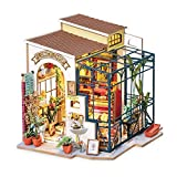 Rolife Miniature DIY Miniature Dollhouse with Furniture Set with LED,Tiny Building House Kit,Wooden Greenhouse Kits,Best Gift for Kids(Emily's Flower Shop)