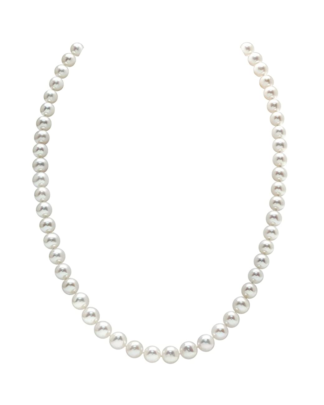 THE PEARL SOURCE 14K Gold 5.0-5.5mm AAAA Quality Round White Freshwater Cultured Pearl Necklace for Women 18