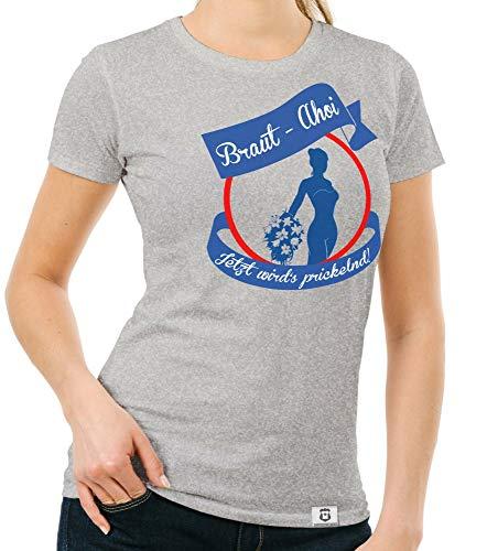 shirtdepartment - JGA Damen T-Shirt - Braut AHOI hellgrau-blau L