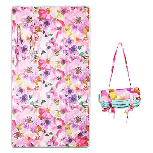 Winthome Fashion Strandmatte, Sanddicht, wasserdicht, tragbare Picknickdecke für Outdoor Reisen Camping Wandern (Blume)