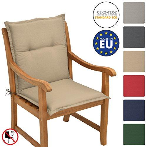 Beautissu Loft NL - Cojín para sillas de balcón o Asiento Exterior con Respaldo Bajo - 100x50x6 cm - Placas compactas de gomaespuma - Natural