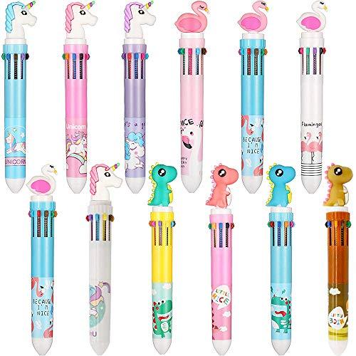 12 Pezzi 10-in-1 Penne a Sfera Multicolore Retrattili, Penna a Sfera 10 Colori Cartoon Rabbit Dinosaur Unicorn Flamingo per Ufficio Materiale Scolastico Regalo per Bambini