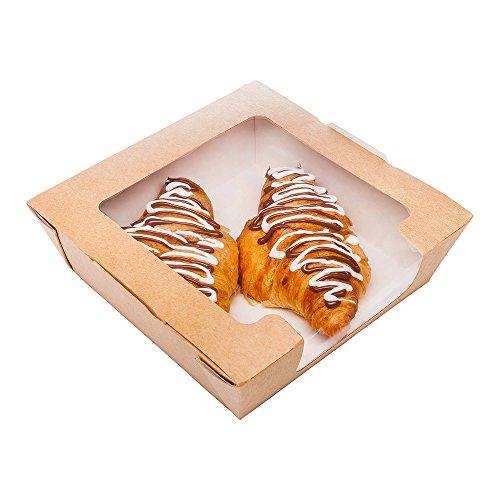 Lunchbox van papier met twee vensters, klein formaat bij 28 oz, Cafe Vision, 200 ct Box, restaurantwaren Saladebox Large Kracht.