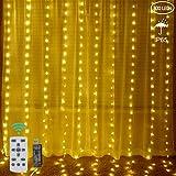 DreiWasser Lichterkette Vorhang 300 LEDs 8 Modi [Neuste Version], Lichter Warmweiß mit...