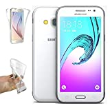 REY Funda Carcasa Gel Transparente Doble 360º para Samsung Galaxy J3 2016, Ultra Fina 0,33mm, Silicona TPU de Alta Resistencia y Flexibilidad