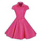 BI.TENCON Women's Retro Vintage 1950s Style Cap Sleeve Swing Party Dress Pink Polka Dot S