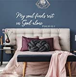 Pegatinas de pared de vinilo mural decoración del hogar My Soul Finds Rest in God Alone Salmo Scripture Adhesivo de...