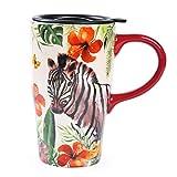 Minigift MN1024 Travel Cup, Tea Coffee Mug Beautiful Ceramic Cups with Lid, Vivid Zebra Handmade Milk Mug 16oz for Women Men Kids