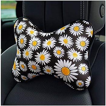 MRTIOO Cute Soft Daisy Flower Car Headrest Car Seat Neck Pillow Travel Pillow for Car Office Home Small Headrest - Daisy
