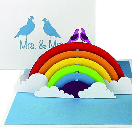 """3D Hochzeitskarte """"Lesbian Wedding Card - Birds in Love"""" - Pop Up Karte """"Mrs. & Mrs."""" als Einladungskarten & Hochzeitskarten - als Gastgeschenk, als Einladung & Geschenkidee zur schwulen Hochzeit"""