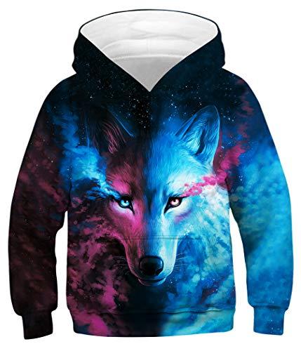 Sixyotie Boys 3D Galaxy Muster Hoodie Animal Printed Langarm Pullover Sweatshirt mit Tasche (Bunter Fuchs, Höhe: 145-155 cm)