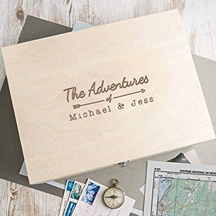 """Personalized Wooden Keepsake Box -""""The Adventures of"""" design - Anniversary Engagement Gifts for Couples - Cute Engraved gift for boyfriend girlfriend husband wife bride groom"""