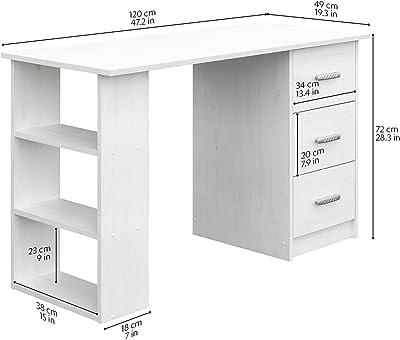 COMIFORT Bureau pour Jeunes - Bureau d'ordinateur avec 2 tiroirs, 5 étagères et Un Plateau pour Clavier Amovible, conçu en Espagne, fabriqué en Bois, Mesure 115x55x76cm - MONTGO Nordic