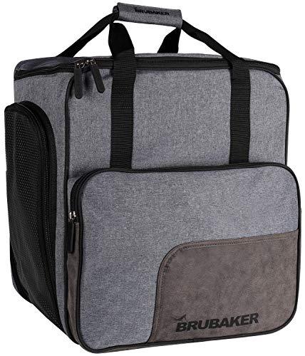 Brubaker Super Performance Skischuhtasche Helmtasche Rucksack mit Schuhfach - Grau meliert Schwarz