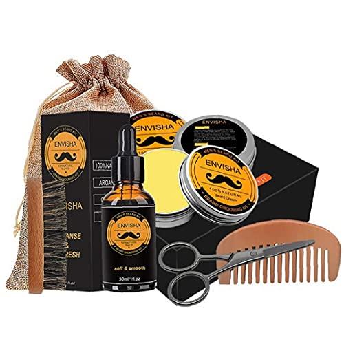 TOSSPER 6 Pc/Set Kit Hombres Cuidado Barba Barba Bálsamo Cepillo De Aceite De Tijera Peine con Saco De Regalos para Padre Novios Marido