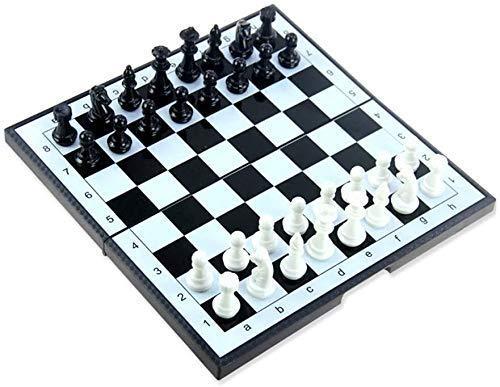 Juego de ajedrez Juegos l Adultos Niños Tablero de ajedrez Juego de tablero de ajedrez magnético con ranuras de almacenamiento de piezas de ajedrez para niños y adultos Portátil l Juego de ajedrez