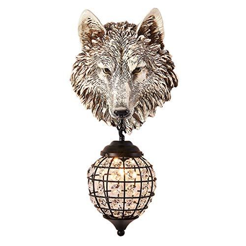 Lámpara Pared Lámpara de pared Retro mitad blanca cabeza de lobo de imitación lámpara colgante de pared 20 pulgadas imitación animal espécimen cabeza animal decoración de la pared Aplique Pared