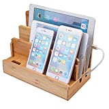Bamboo Multi-Device Charging Dock Station,Desktop Organizer Stand Compatible iPhone Android iPod iPad Mac