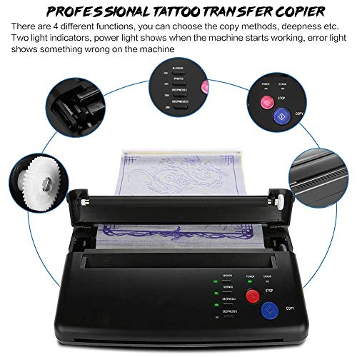 Filfeel Tattoo Transfer Printer Machine, Stencil Thermal Copier for A5 A4 Paper Portable Artist Set(Black)