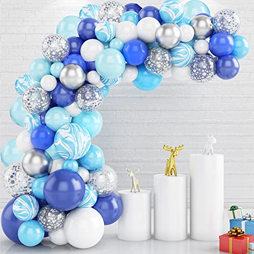 Gremag Kit per arco di palloncini, 107 pezzi, kit di ghirlande con palloncini in lattice, palloncini decorativi per feste di compleanno, nozze, agata, blu