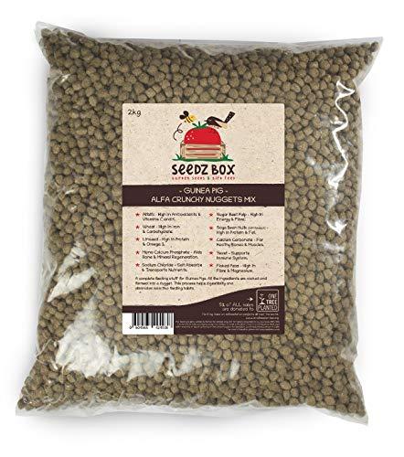 Seedzbox alimento premium de verduras y semillas para cobayas. Comida natural y completa para conejos de indias –con croquetas crujientes, alfalfa, trigo, linaza. Alto en vitamina C, calcio. Bolsa 2kg