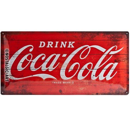 Nostalgic Art Logo Red, Geschenk-Idee für Coca-Cola Fans, Retro Blechschild, Vintage-Design zur Dekoration, 25x 50 cm
