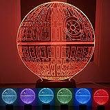 Luz de noche ilusión 3D con control remoto táctil, 7 colores cambiantes de escritorio USB novedoso LED lámpara de mesa – Regalo de cumpleaños para niños dormitorio (estrella de la muerte)