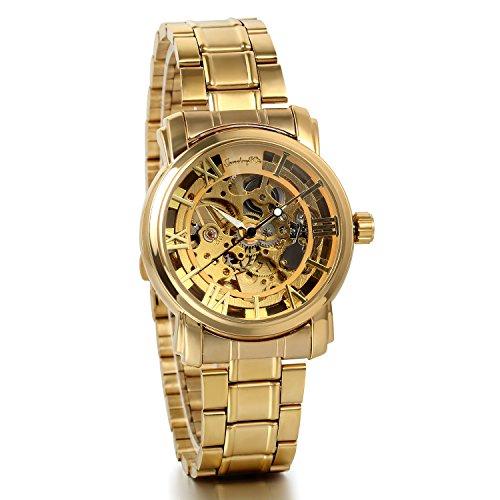 JewelryWe-Reloj de pulsera para hombre con correa de acero inoxidable, diseño con mecanismo a la vista, color dorado