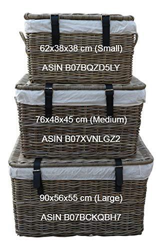 SIDANO Rattankorb mit Deckel, Flechtkorb mit Deckel/Truhe aus unbehandeltem Natur-Rattan, Rattantruhe, Grau, 90x56x55 cm (Large) - 2