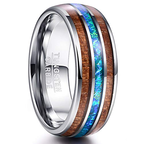 VAKKI Koa Wood and Imitated Opal Inlay Tungsten Carbide Rings 8mm Domed Wedding Engagement Band for Men Size 9.5