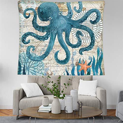 Tapisserie Dekor-Wandteppich, Ozean Tier Schildkröte Wal Delphin Tintenfisch Seepferdchen Tagesdecke Handtuch Strand Handtuch Wohnheim Dekor Wandbehang Tapisserie Yoga Matte (Tintenfisch,150x150 cm)