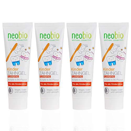 NEOBIO Kinder Zahngel (4x50ml), Fluoridfrei, mit Bio-Apfel und Bio-Papaya, Bio Zahnpasta, Vegan, Naturkosmetik