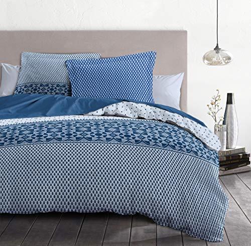 Home Linge Passion 3-Piece Duvet Cover Set - 100% Cotton - 57 Thread Count - Double - 220 x 240 cm - Berber Night Blue