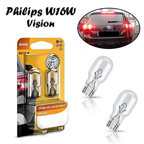 2x Philips Vision W16W 12V W2,1x9,5D 12067B2 High Tech Ersatz Halogen Birne für Bremslicht Hecklicht Rückfahrlicht Nebelleuchte vorne Blinker vorne hinten und seitlich E-geprüft