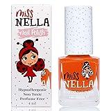 Miss Nella POPPY FIELDS- Esmalte naranja especial para uñas para niños, fórmula despegable, a...