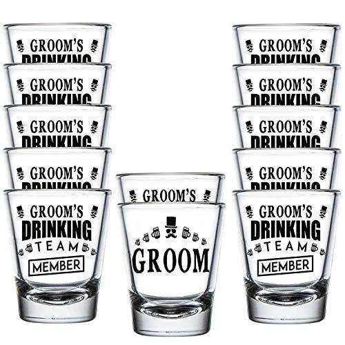 Shop4Ever Groom and Groom's Drinking Team Member Glass Shot Glasses Wedding Bachelor Party Shot Glasses 12 Pack