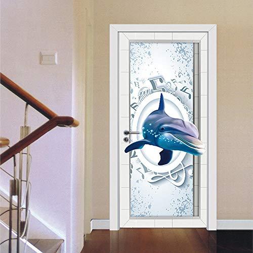 YQLKD Murales para Puertas 3D Etiqueta Engomada Autoadhesiva De La Ventana De La Cubierta del Papel Pintado del PVC De La Etiqueta Engomada De La Puerta De La Música del Delfín
