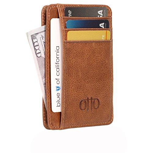 Otto Angelino Dünn Echtes Leder Kartenhalter Brieftasche für Männer - Mehrere Schlitze für Kredit, Lastschrift, Bank und Business-Karten, RFID-BLOCKEN (Braun)