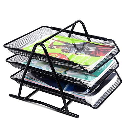 DREAMADE Dokumentenablage Metall mit 3 Fächer, Briefablage Organize Ablage Schreibtisch, Papierablage Aktenablage Ablagefächer stapelbar, Ablagekorb Briefkorb Schreibtischablage, Schwarz