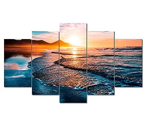 KOPASD 5 Piezas Lienzo Grandes murales 5 Partes Impresión Artística Imagen Puesta de Sol Ocean Beach Moderno Sala Decorativos para el hogar-Sin Marco-150 * 80cm