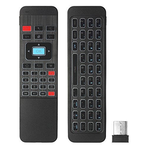Docooler 2.4G achtergrondverlichting Air Mouse Wireless Keyboard 6-assige sensor afstandsbediening IR leren voor Smart TV Android TV Box Mini PC