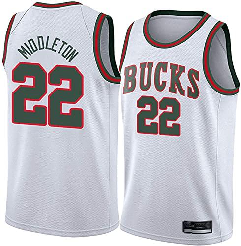 ZMIN Camisetas de la NBA del Baloncesto para Hombres - Milwaukee Bucks 22# Middleton Jersey - Camiseta Deportiva de Baloncesto sin Mangas de Ocio Transpirable,Blanco,S