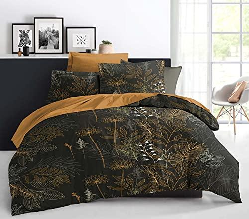 Best Interior - Juego de sábanas de algodón Aquapulco – Amarillo, 160 x 200 cm